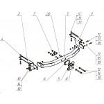 ТСУ VFM (Россия) для LEXUS GX 460 2010-2014, Toyota Land Cruiser Prado (150) 4x4 2010-  (без электрики) Крепление шара на балке ТСУ